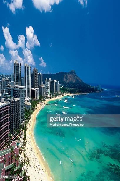 Aerial view of Waikiki Beach, Honolulu, Oahu, Hawaii, USA