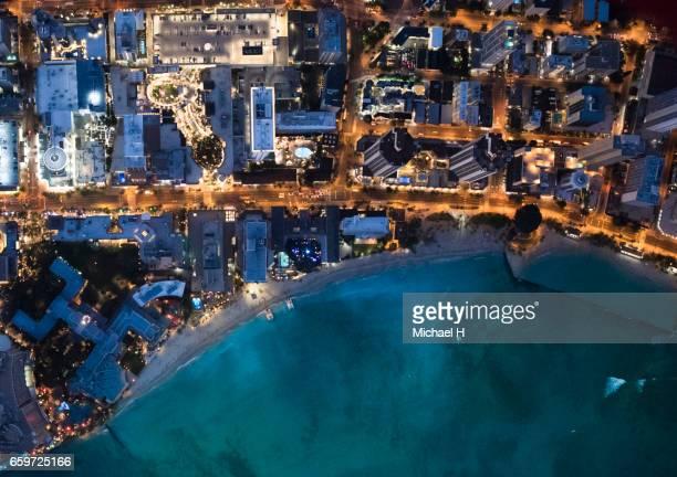 Aerial view of Waikiki, Hawaii at dusk