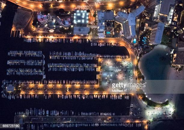 Aerial view of Waikiki, Hawaii at dusk