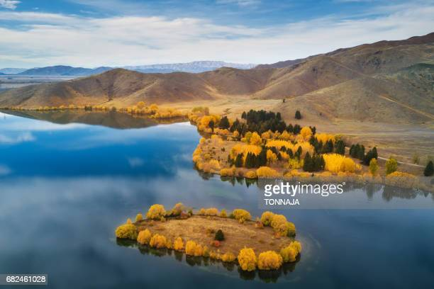 Aerial view of Wairepo Arm in autumn, Twizel