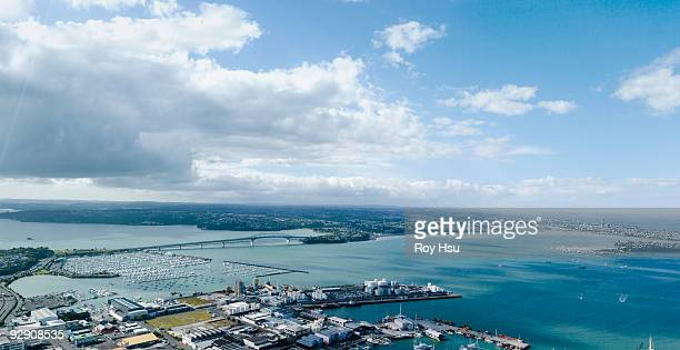 aerial view of waitemata harbor, auckland - waitemata harbor stock photos and pictures