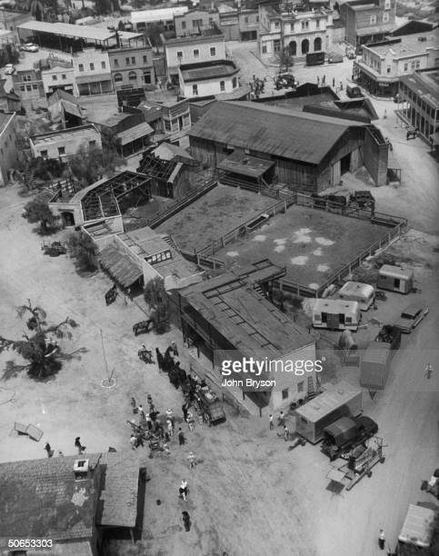 Aerial view of Warner Bros film lot used in production of TV westerns