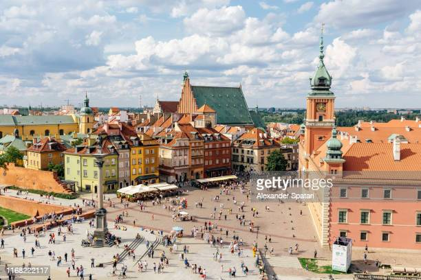 aerial view of warsaw historical old town, poland - poland stock pictures, royalty-free photos & images