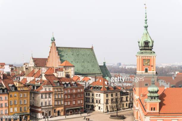 Aerial view of Warsaw old town in Poland capital city