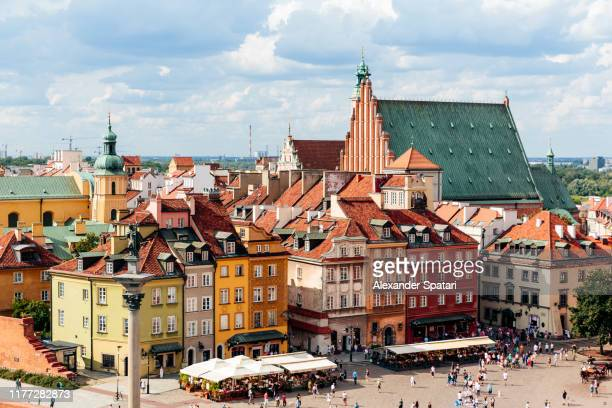 aerial view of warsaw old town skyline, poland - poland stock pictures, royalty-free photos & images