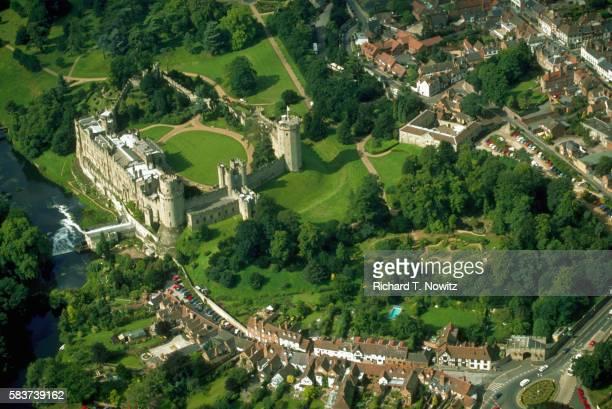 aerial view of warwick castle - warwick castle bildbanksfoton och bilder