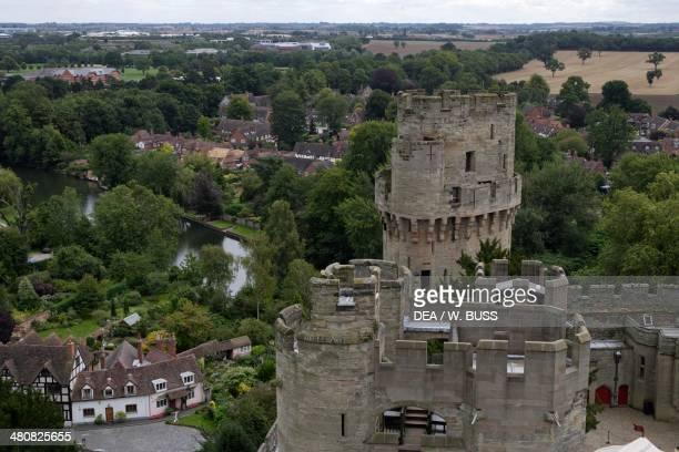 Aerial view of Warwick Castle Warwickshire Midlands England United Kingdom