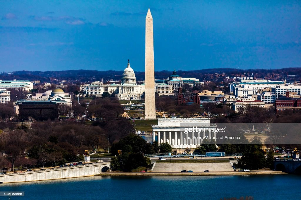 Aerial view of Washington D.C. from Top of Town restaurant, shows Lincoln & Washington Memorial and U.S. Capitol : News Photo