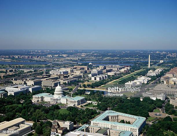 Aerial view of Washington DC It shows the progression of the National Mall from the US Capitol right to the Washington Monument and in the distance...