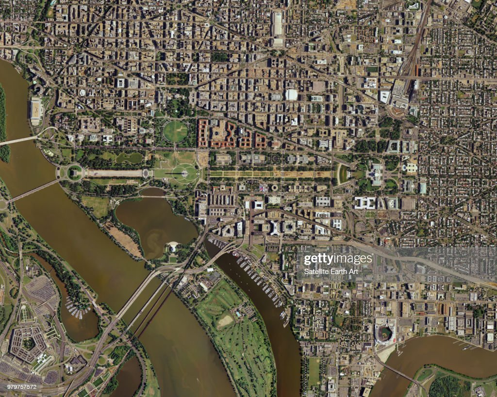 Aerial view of Washington DC, USA : Stock Photo