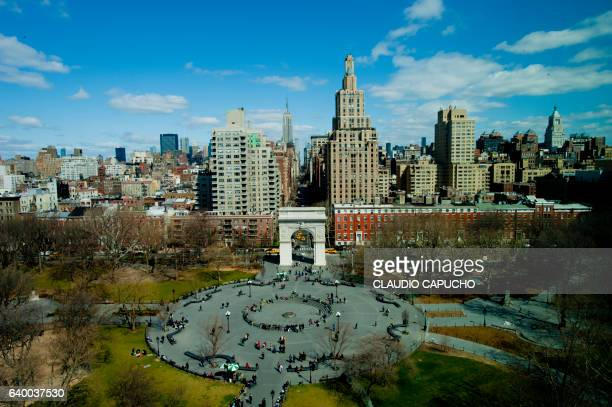 aerial view of washington square in ny - washington square park stock pictures, royalty-free photos & images