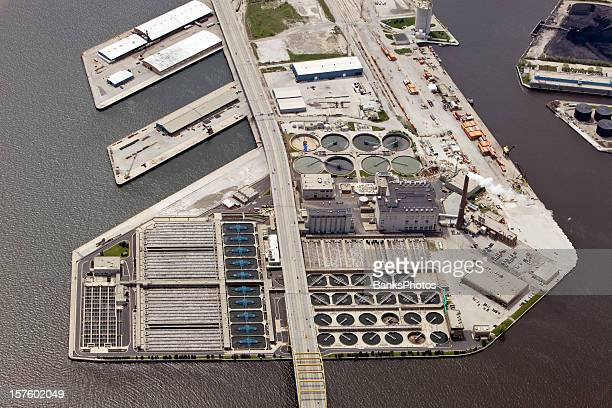 Aerial View of Wastewater Treatment Plant and Port in Milwaukee