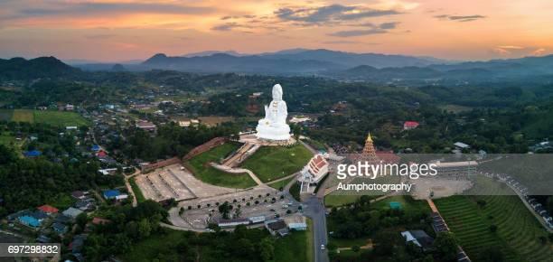 Aerial view of Wat huay pla kang temple, Chiang Rai, Thailand