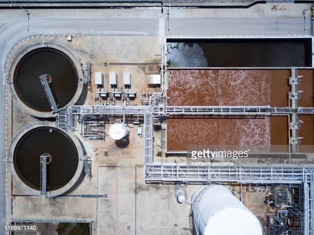 aerial view of water filtration system in the water production plant - drain cleaner stock photos and pictures