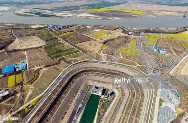 Aerial view of water from Yangtze River running in a canal which connects to a tunnel under the Yellow River during the SouthtoNorth Water Diversion...