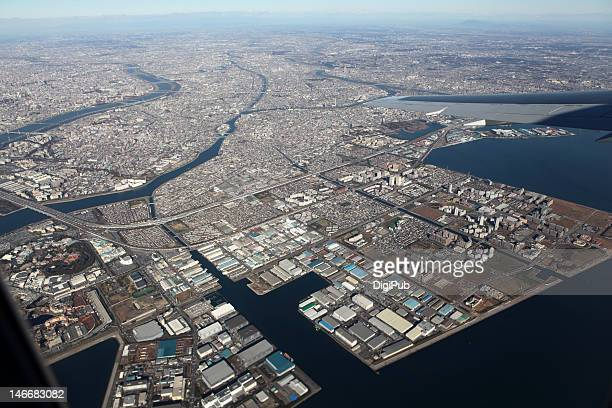 Aerial view of water front area of kawasaki