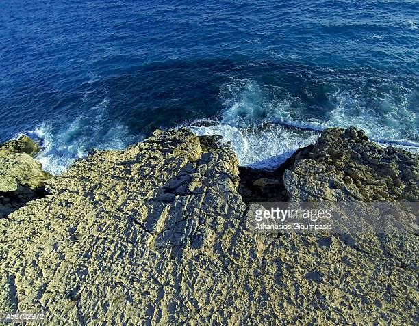 Aerial view of waves at Cape Greco or Cavo Greco on September 26 2014 in Larnaca Cyprus Cape Greco or Cavo Greco is a headland in the southeastern...