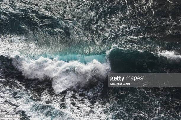 aerial view of waves - tide stock pictures, royalty-free photos & images