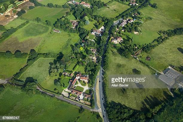 Aerial view of Wealthy housing in Essex