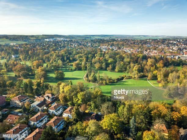 Aerial View von Weimar mit park