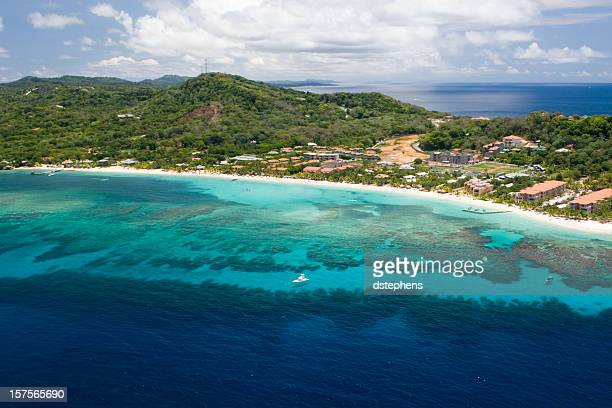 aerial view of west bay beach - honduras stock pictures, royalty-free photos & images