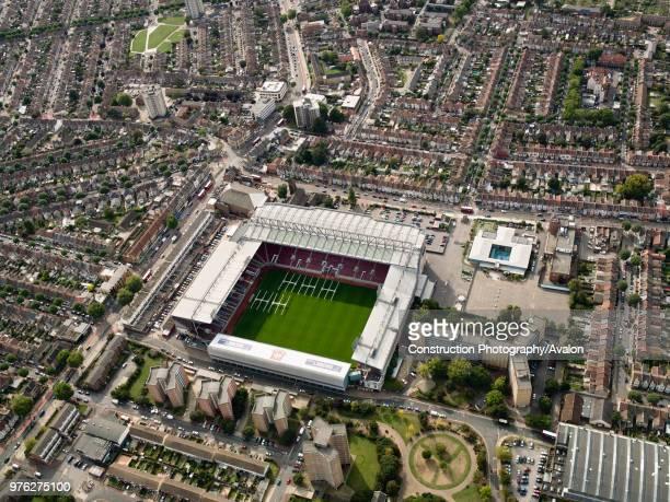 Aerial view of West Ham Football Stadium East London UK