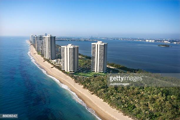 Aerial view of West Palm Beach resorts, Florida