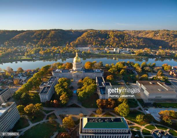 aerial view of west virginia capitol building in autumn - charleston west virginia stock photos and pictures