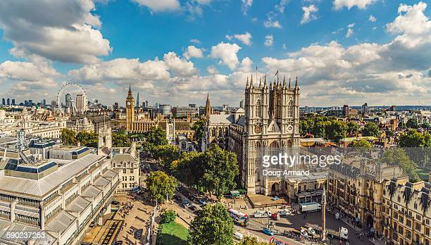 aerial view of westminster abbey and big ben - british culture stock pictures, royalty-free photos & images
