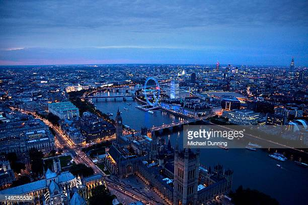 aerial view of westminster, london, at night - houses of parliament london stock pictures, royalty-free photos & images