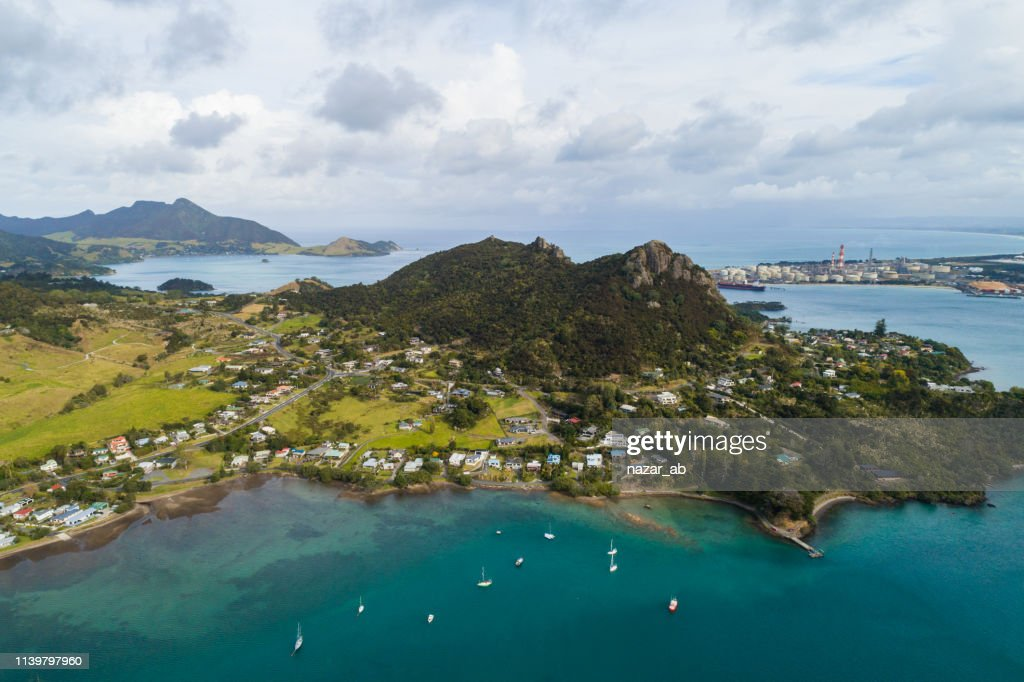 Aerial view of Whangarei Heads, North Island, New Zealand. : Stock Photo