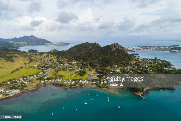 aerial view of whangarei heads, north island, new zealand. - northland new zealand stock pictures, royalty-free photos & images