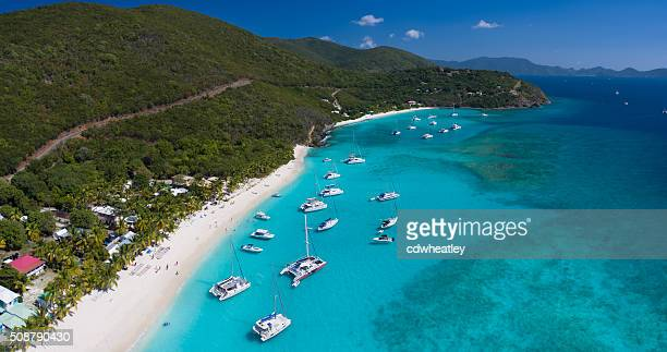 aerial view of white bay, jost van dyke - catamaran stock photos and pictures