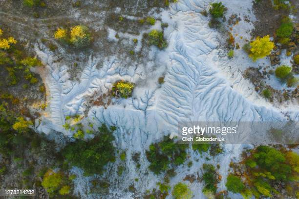 aerial view of  white  chalk dunes in ukraine - ukraine stock pictures, royalty-free photos & images