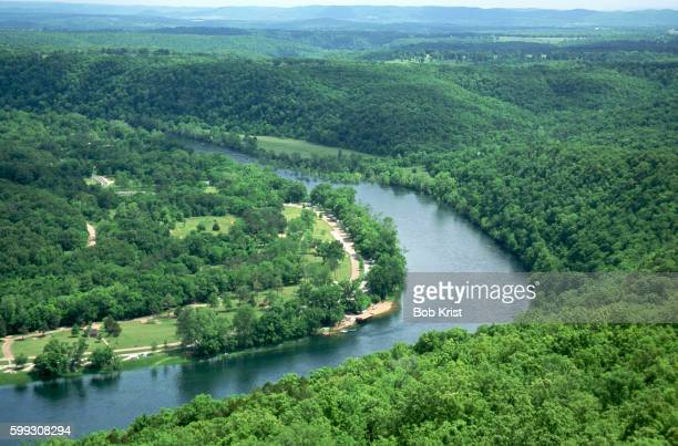 aerial view of white river - arkansas stock pictures, royalty-free photos & images