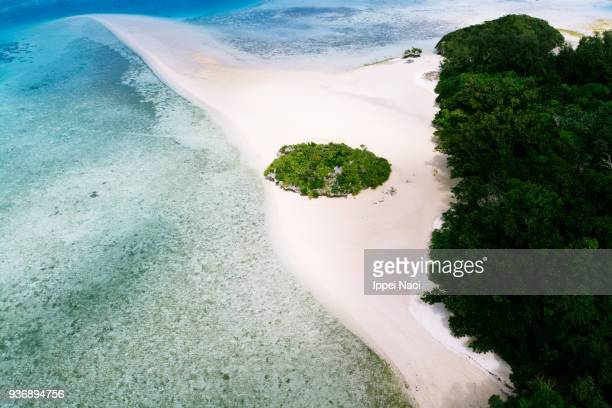 Aerial view of white sand tropical beach, Ishigaki Island, Japan