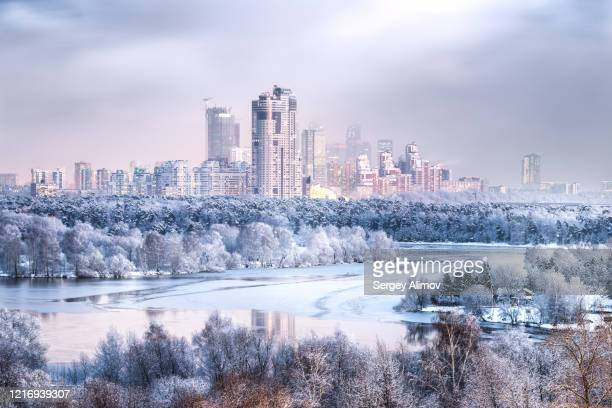 aerial view of white snowy moscow in winter season - moscou photos et images de collection