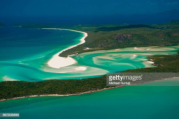 aerial view of whitehaven in the whitsunday islands, queensland, australia - whitehaven beach stock photos and pictures