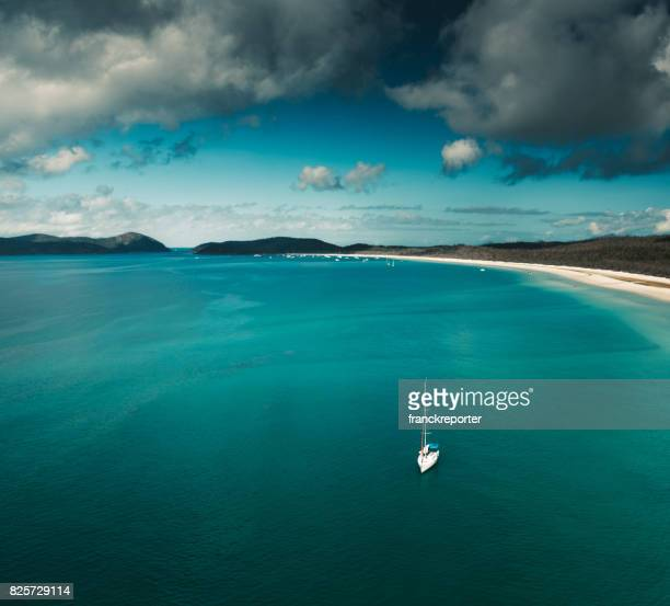 aerial view of whitsunday island in queensland australia - whitehaven beach stock photos and pictures