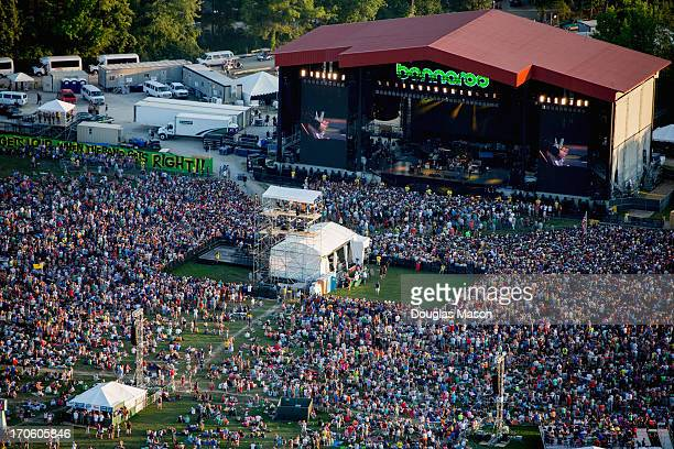 Aerial view of Wilco the crowd and the main stage during the 2013 Bonnaroo Music And Arts Festival on June 14 2013 in Manchester Tennessee