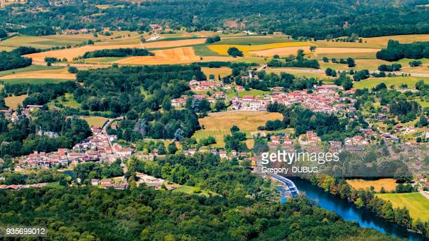 aerial view of wild ain river with small french villages in lush foliage countryside in the end of summer season - rhone alpes stock photos and pictures