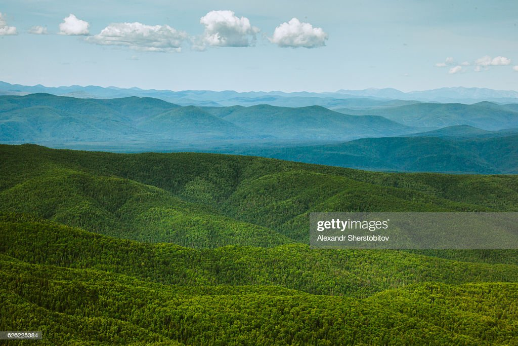 Aerial view of wild Russian landscapes : Stock Photo