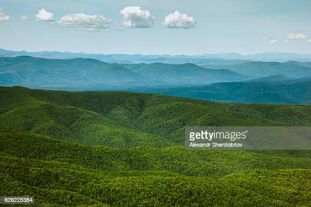 Aerial view of wild Russian landscapes
