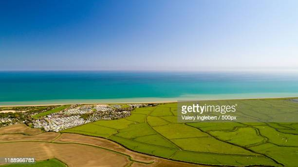 aerial view of winchelsea beach in the east sussex - イーストサセックス ストックフォトと画像