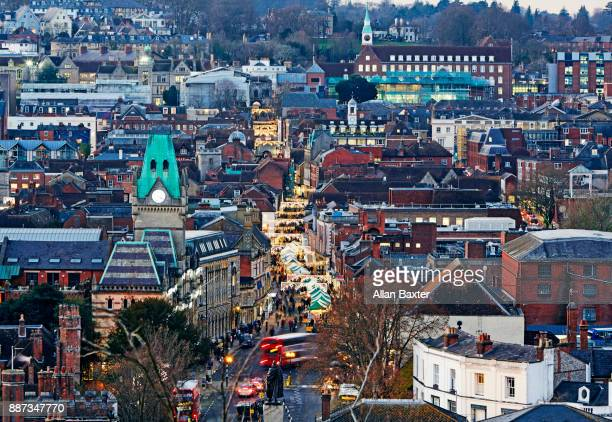 aerial view of winchester illuminated at dusk - winchester hampshire stock photos and pictures