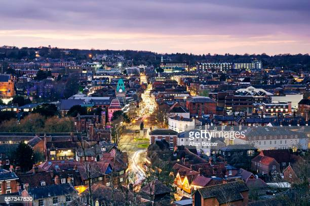 Aerial view of Winchester illuminated at dusk