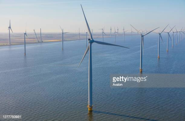 Aerial view of wind turbines at sea. North Holland. Netherlands.