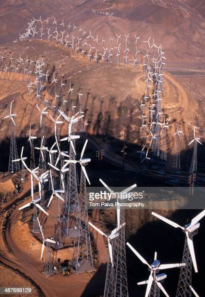 Aerial view of wind turbines on Tehachapi Pass, Mojave Desert, California, United States