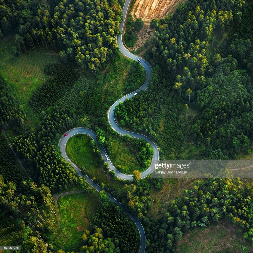 Aerial View Of Winding Road Amidst Trees : Stock Photo