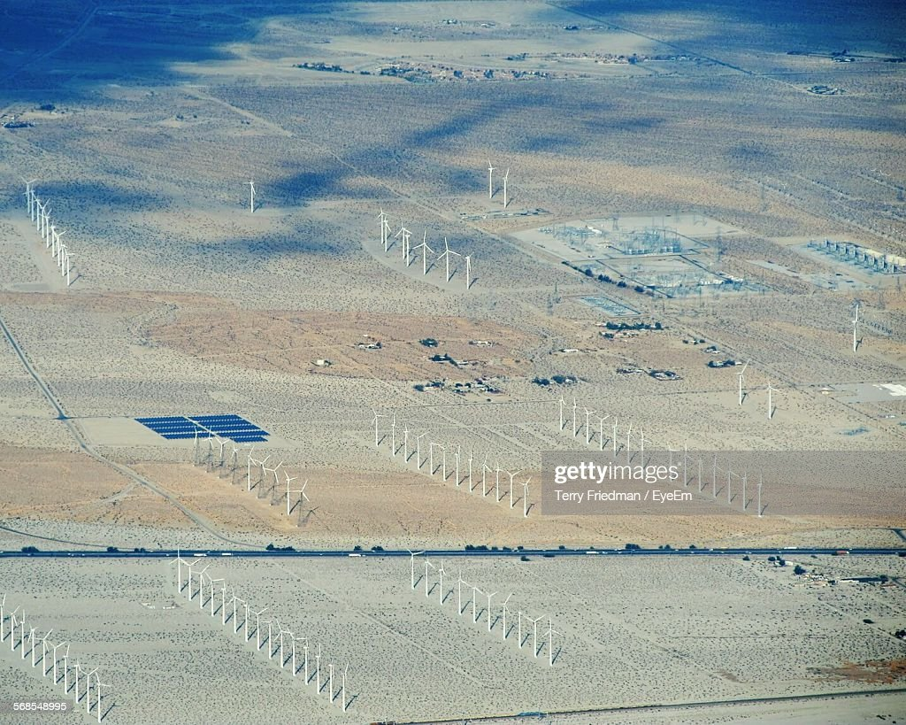 Aerial View Of Windmills On Field : Stock Photo